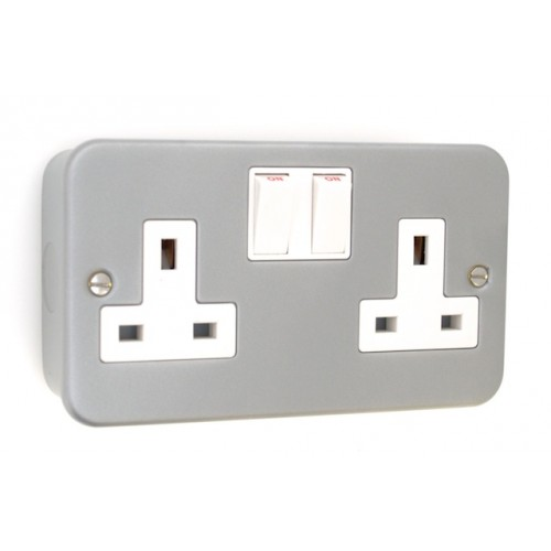 Metal Clad 2 Gang 13A Plug Socket - MC07