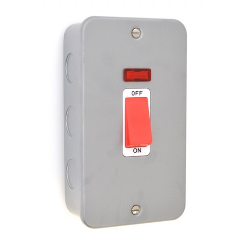 Metal Clad 45A Double Cooker Switch with Neon - MC40