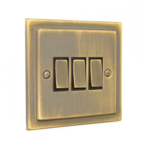 3 Gang Light Switch - Victorian Antique Brass