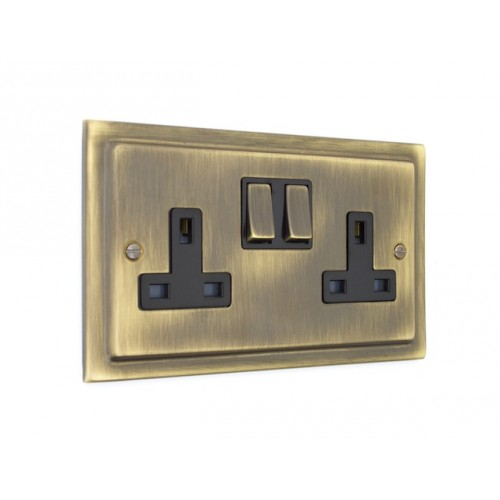 2 Gang 13A Plug Socket - Victorian Antique Brass