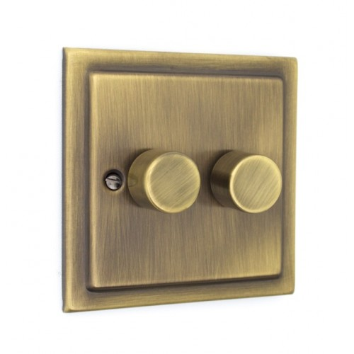 2 Gang 250w Dimmer Switch - Victorian Antique Brass