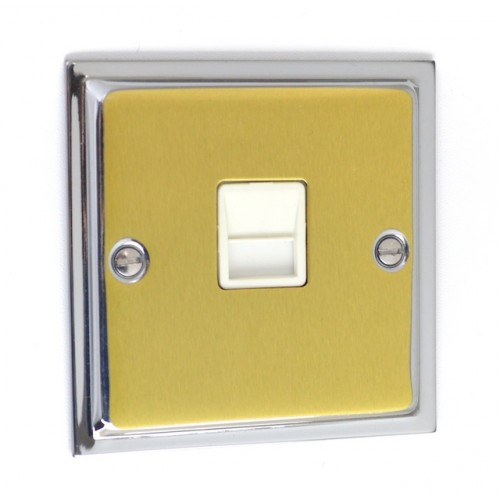 Ultra Slim Polished Chrome/Satin Brass - Secondary Telephone Socket - US44PCSB