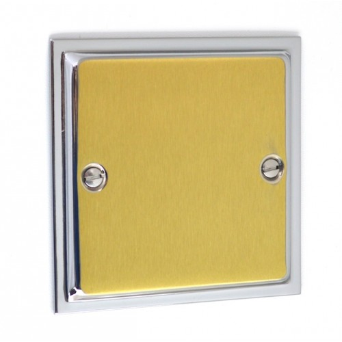Ultra Slim Polished Chrome/Satin Brass - 1 Gang Blank Plate - US49PCSB