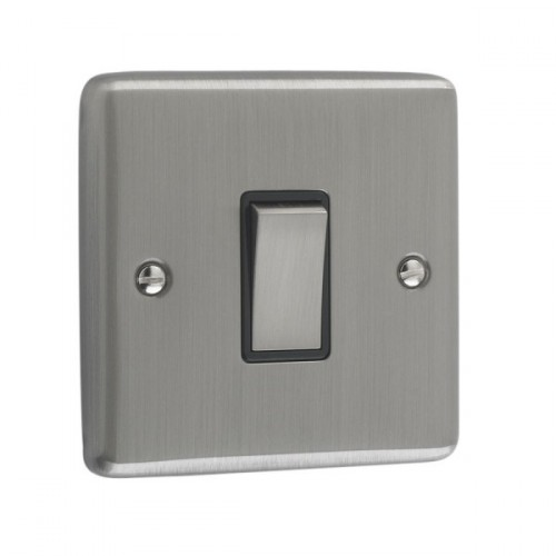 Brushed Chrome - 1 Gang Light Switch Black Trim - W01BCB