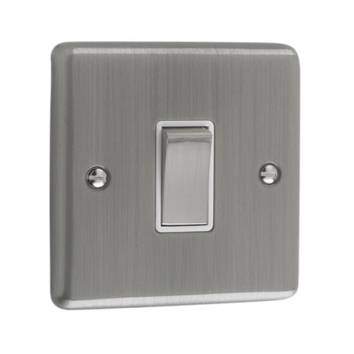 Brushed Chrome - 1 Gang Light Switch White Trim - W01BCW