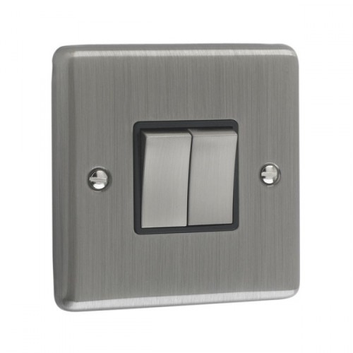 Brushed Chrome - 2 Gang Light Switch Black Trim - W02BCB