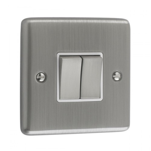 Brushed Chrome - 2 Gang Light Switch White Trim - W02BCW