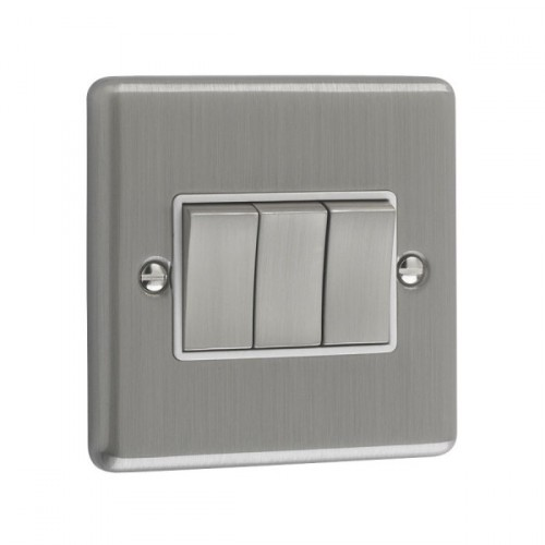 Brushed Chrome - 3 Gang Light Switch White Trim - W03BCW