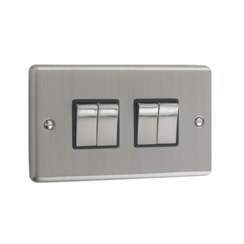 Brushed Chrome - 4 Gang Light Switch Black Trim - W04BCB