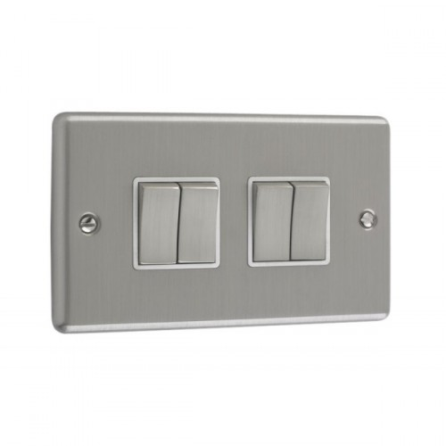 Brushed Chrome - 4 Gang Light Switch White Trim - W04BCW