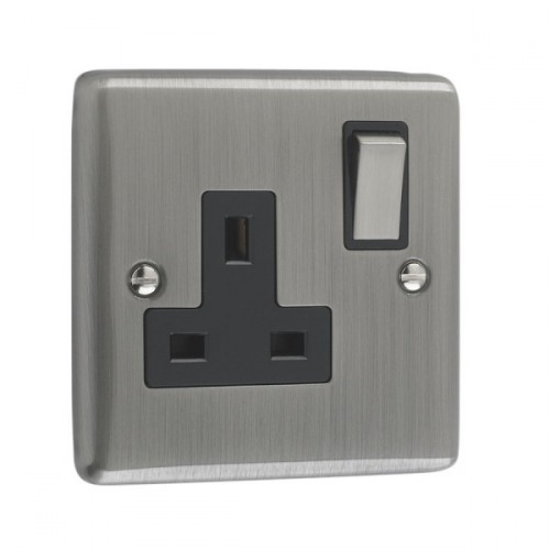 Brushed Chrome - 1 Gang Plug Socket Black Trim - W06BCB