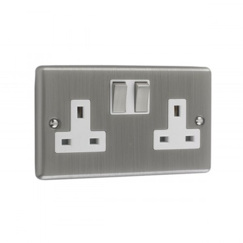 Brushed Chrome - 2 Gang Plug Socket White  Trim - W07BCW