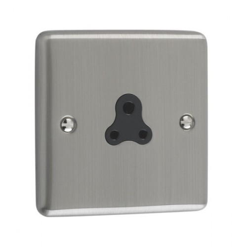 Brushed Chrome - 2A Unswitched Socket Black Trim - W08BCB