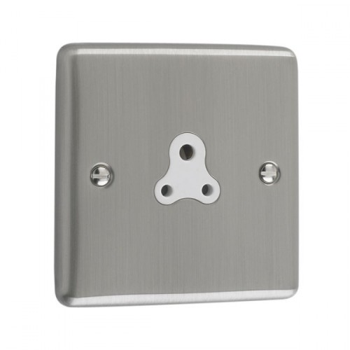 Brushed Chrome - 2A Unswitched Socket White Trim - W08BCW