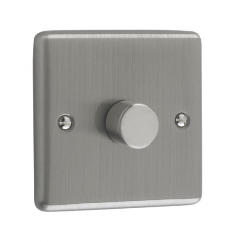Brushed Chrome - 250W 1 Gang Dimmer Switch - W10BC