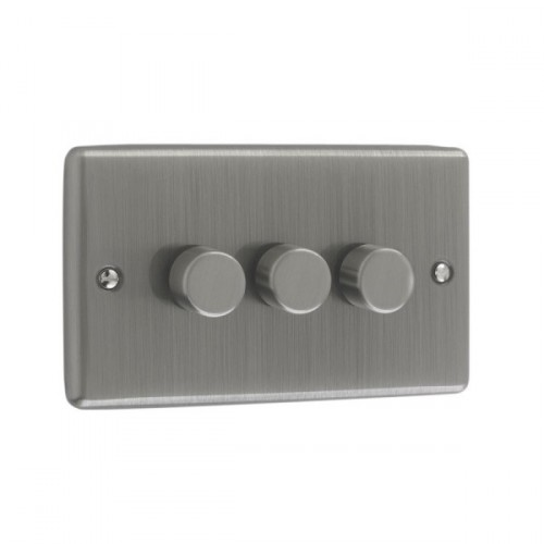 Brushed Chrome - 250W 3 Gang Dimmer Switch - W12BC