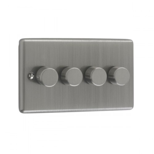 Brushed Chrome - 250W 4 Gang Dimmer Switch - W13BC