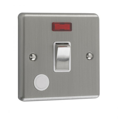 Brushed Chrome - 20A 1 Gang DP Switch With Neon - W37BCW