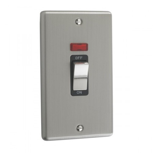 Brushed Chrome - 45A Double Cooker Switch With Neon - W40BCB