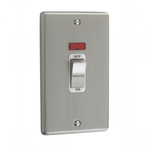 Brushed Chrome - 45A Double Cooker Switch With Neon - W40BCW