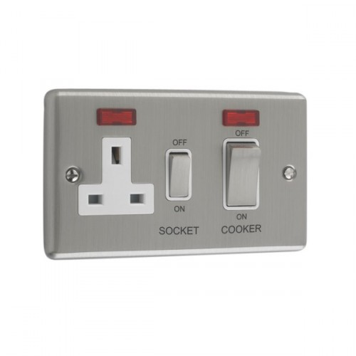 Brushed Chrome - 45A Double Cooker Switch With 13A Socket - W41BCW