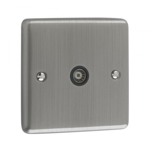 Brushed Chrome - Isolated 1 Gang TV Point - W42BCB