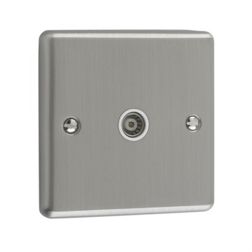 Brushed Chrome - Isolated 1 Gang TV Point - W42BCW