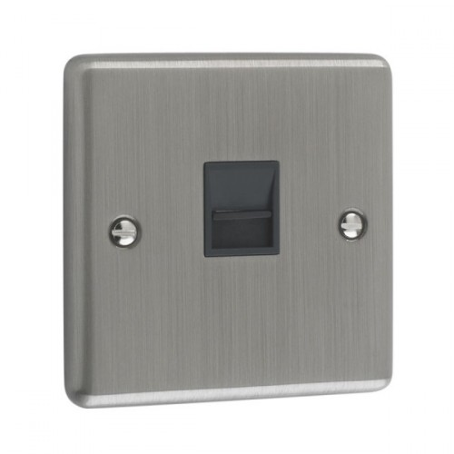 Brushed Chrome - 1 Gang Telephone Master Socket- W45BCB