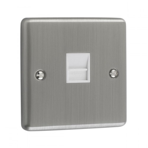 Brushed Chrome - 1 Gang Telephone Secondary Socket- W44BCW