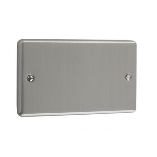 Brushed Chrome - 2 Gang Blank Plate- W50BC