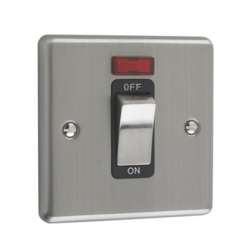 Brushed Chrome - 45A 1 Gang DP Switch With Neon - W52BCB