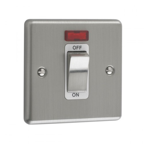 Brushed Chrome - 45A 1 Gang DP Switch With Neon- W52BCW