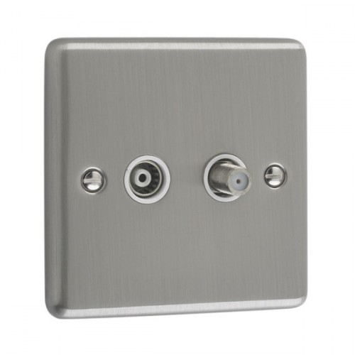 Brushed Chrome - Satellite And TV Socket- W54BCW