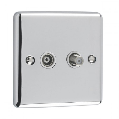 TV  & Satellite Point - windsor Polished Chrome White Trim