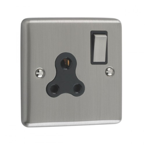 Brushed Chrome - 5A 1 Gang Unswitched Socket- W58BCB