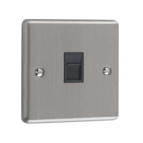 Brushed Chrome - 1 Gang RJ45 Socket- W62BCB