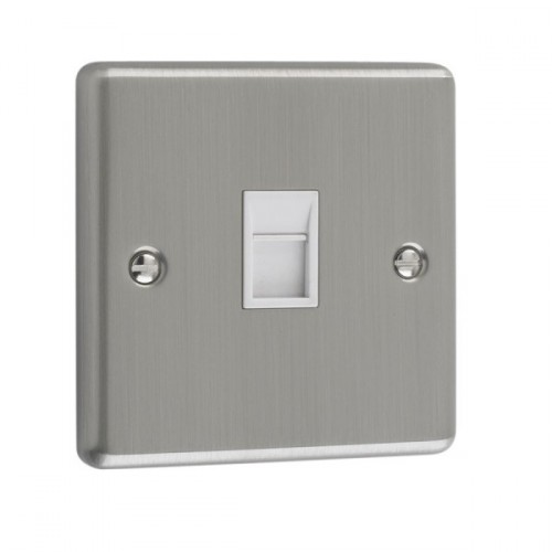 Brushed Chrome - 1 Gang RJ45 Socket- W62BCW