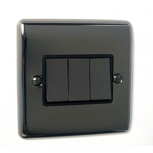 3 Gang Light Switch - Definition Black Nickel