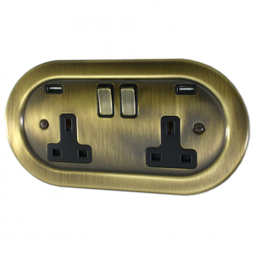Empire Antique Brass Double USB Socket 3.1a