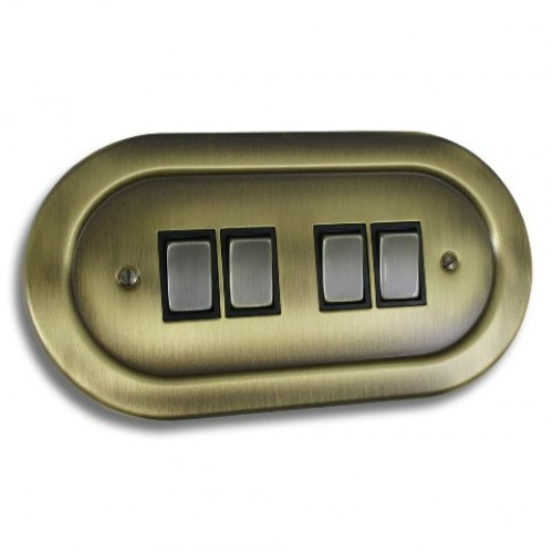 4 Gang Light Switch - Empire Round Antique Brass