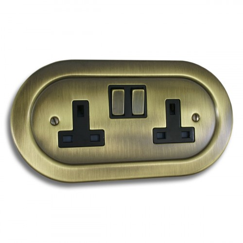 Antique Brass Empire - 2 Gang Plug Socket - EM07AN