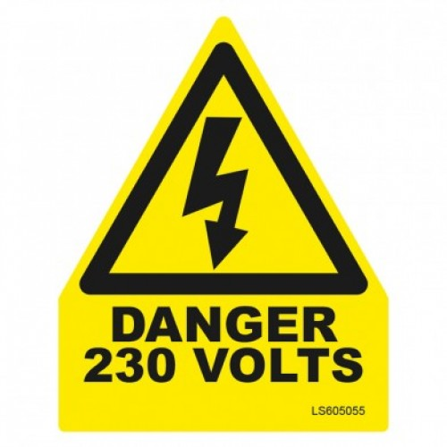 Triangle Danger 230 Volts Safety Label - pack of 10