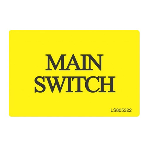 Main Switch Safety Label - Pack of 10