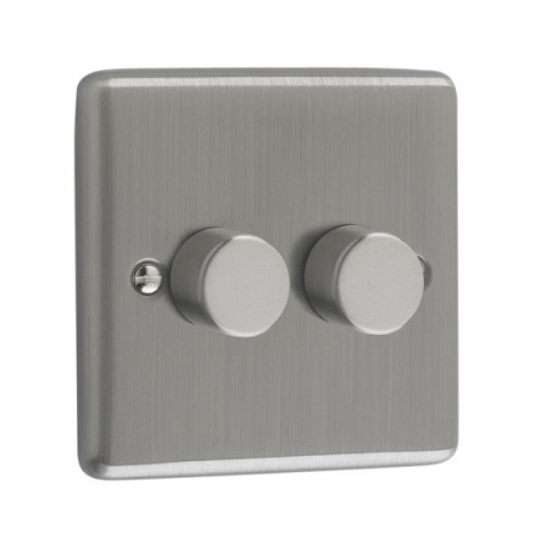 Brushed Chrome - 400W 2 Gang Dimmer  Switch- W23BC