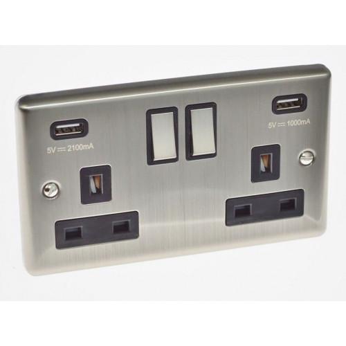 Satin Chrome USB Twin Port 3.1A Socket