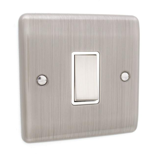Brushed Chrome 1 Gang Intermediate Light Switch White
