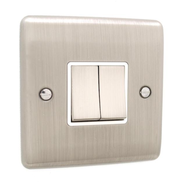 brushed chrome 2 gang light switch white trim d02bcw. Black Bedroom Furniture Sets. Home Design Ideas