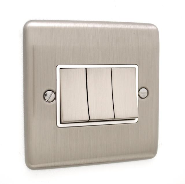 brushed chrome 3 gang light switch white trim d03bcw. Black Bedroom Furniture Sets. Home Design Ideas