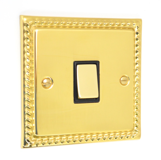 Georgian Polished Brass 1 Gang Light Switch G01pb
