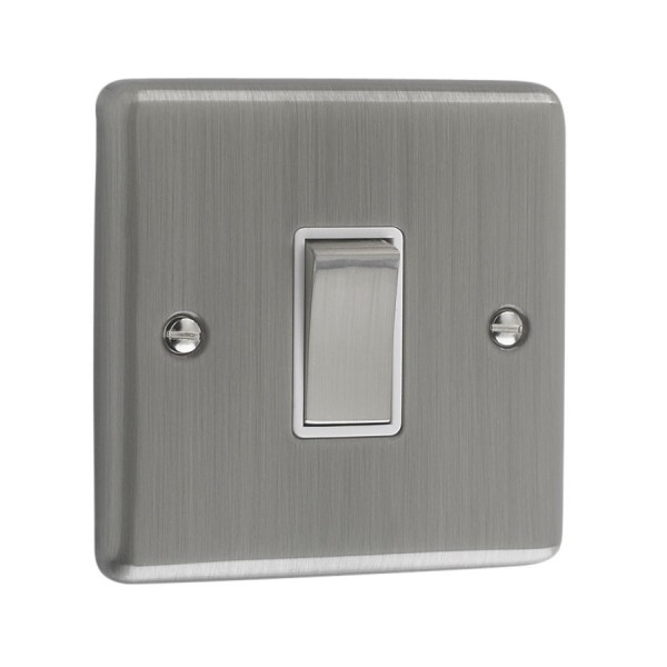 Brushed Chrome 1 Gang Light Switch White Trim W01bcw